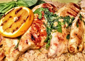 Orange Basil Grilled Chicken Over Whole Wheat Couscous